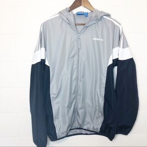 Adidas Gray Navy Blue Windbreaker